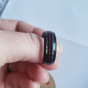 Size 10 black tungsten abalone shell ring